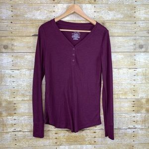 Time and Tru Thermal Long Sleeve Maroon Size Large